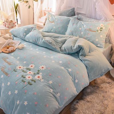 2020新款臻棉绒毛巾绣四件套   提取码:wz12 1.8m(6英尺)床 花儿朵朵-蓝