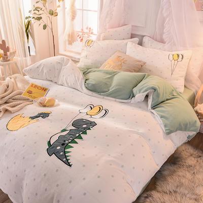 2020新款臻棉绒毛巾绣四件套   提取码:wz12 1.8m(6英尺)床 恐龙宝贝