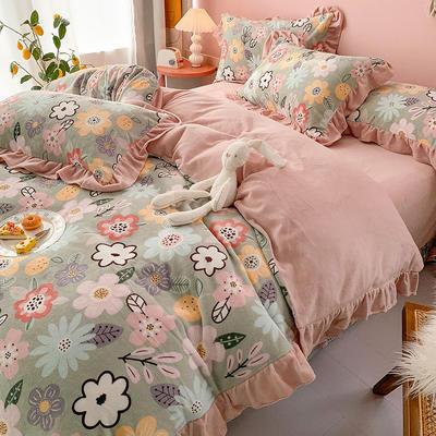 牛奶绒花边四件套    下载提取码:iwj3 1.8m(6英尺)床 花开朵朵-绿