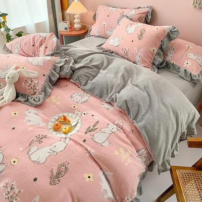 牛奶绒花边四件套    下载提取码:iwj3 1.5m(5英尺)床 欢乐兔-粉