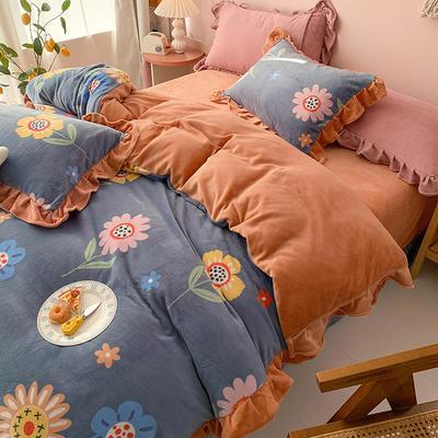 牛奶绒花边四件套    下载提取码:iwj3 1.8m(6英尺)床 美好时光-兰
