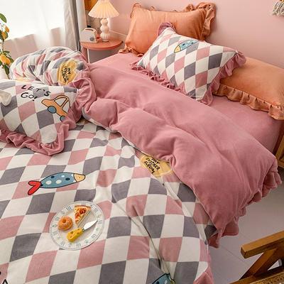 牛奶绒花边四件套    下载提取码:iwj3 1.5m(5英尺)床 渔趣-粉