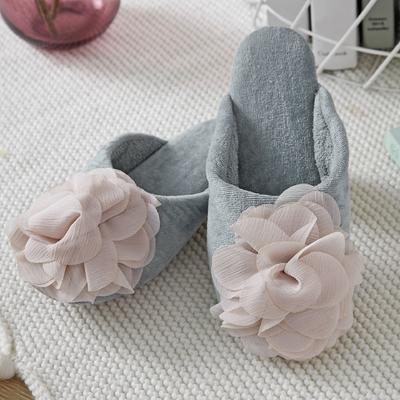 外贸尾货静音地板拖鞋全棉双面毛巾 其它 灰色