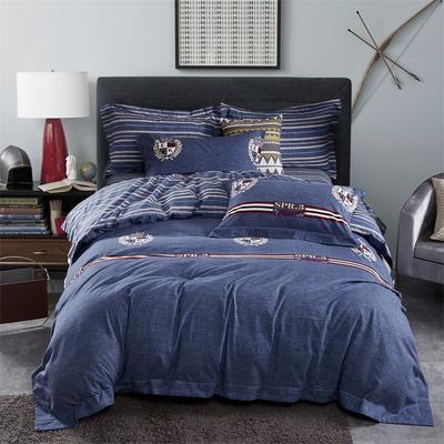 雙面棉絨四件套 標準 普里特(藍)