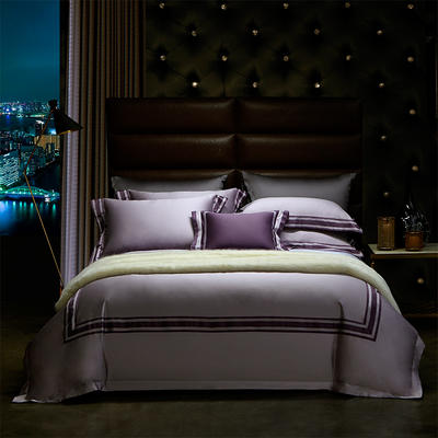 百支色布拼色四件套 标准 浅紫拼深紫