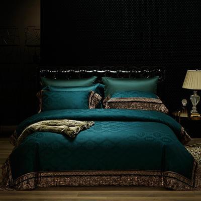 清仓100支全棉色织提花蕾丝四件套 标准 萨罗(墨绿)
