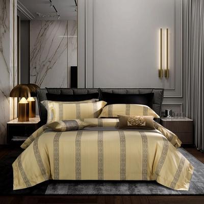 100支色织大提花拼色四件套 1.8m(6英尺)床 圣卡洛 鹅黄