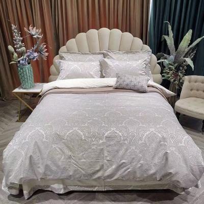金太陽貢緞提花全棉四件套 標準 提花 自然白