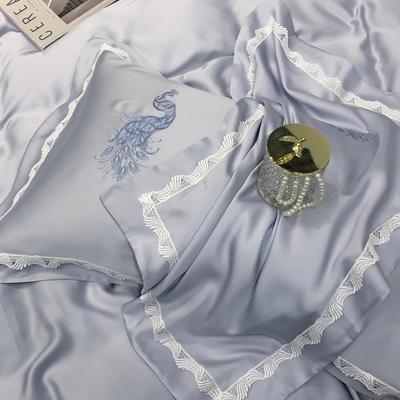 60天丝孔雀蕾丝单枕套 48*74 单枕套(婉香 平和灰)