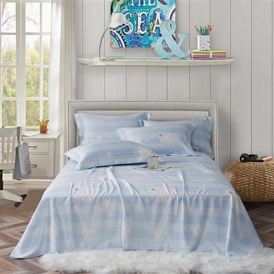 竹語天絲軟涼席三件套 標準 安妮熊(藍)
