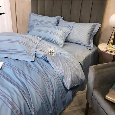 特价60贡缎长绒棉四件套 标准 时尚秀(蓝)