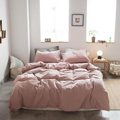 无印良品--2020新款水洗棉套件系列—四件套 1.5m床单款四件套 小粉格