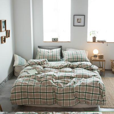 无印良品--2020新款水洗棉套件系列—四件套 1.5m床单款四件套 英伦绿格