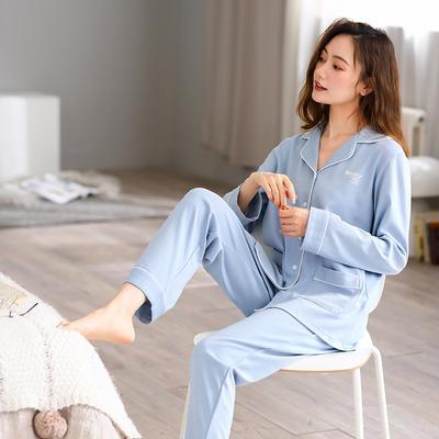 無印良品--2020新款睡衣 纯色 C811003-蔚蓝