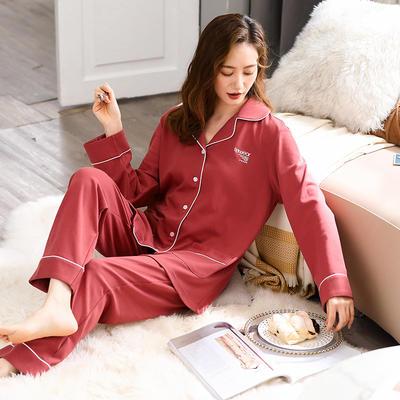 無印良品--2020新款睡衣 纯色 C811003-砖红