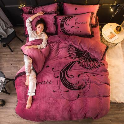 2019 网红蕾丝款四件套 1.5m(5英尺)床 火凤凰-豆沙