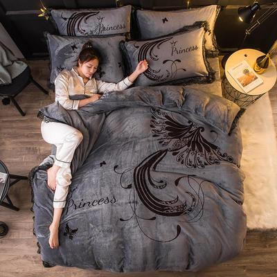 2019 网红蕾丝款四件套 1.5m(5英尺)床 火凤凰-灰色