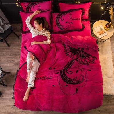 2019 网红蕾丝款四件套 1.5m(5英尺)床 火凤凰-玫红
