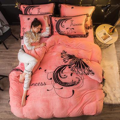 2019 网红蕾丝款四件套 1.5m(5英尺)床 火凤凰-玉色