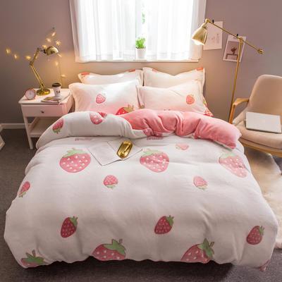 2019新款暖冬雪花绒四件套 1.2m床(三件套) 床单款 草莓派