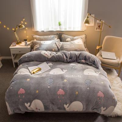 2019新款暖冬雪花绒四件套 1.2m床(三件套) 床单款 鲸鱼之恋
