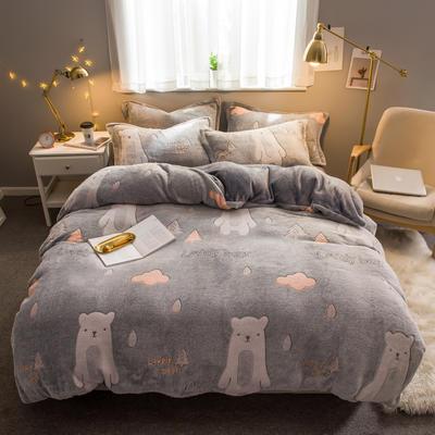 2019新款暖冬雪花绒四件套 标准1.5m-1.8m床 床单款 小熊先生