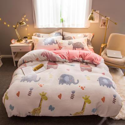 2019新款暖冬雪花绒四件套 1.2m床(三件套) 床单款 欢乐牧场