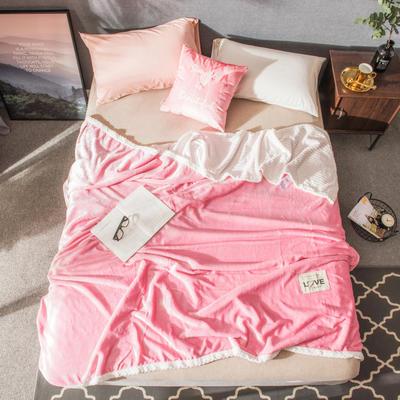 2019双层毛毯--素色毛毯 100*150CM 粉色