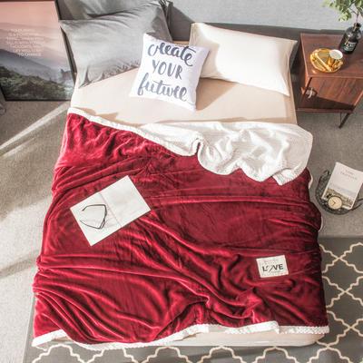 2019双层毛毯--素色毛毯 100*150CM 酒红