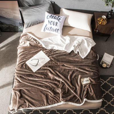 2019双层毛毯--素色毛毯 100*150CM 咖啡