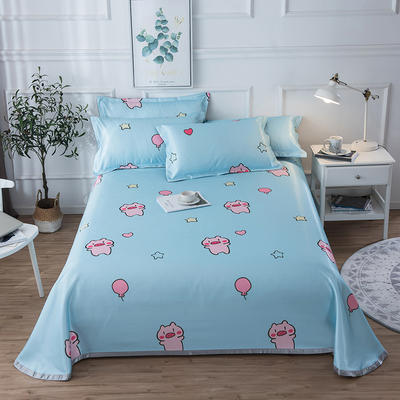 2019新款 床单床笠款冰丝凉席三件套 1.6*2.3m 床单款二件套 欢乐猪