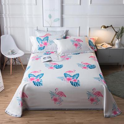2019新款 床单床笠款冰丝凉席三件套 1.8*2.0m 床笠款三件套 火烈鸟-白