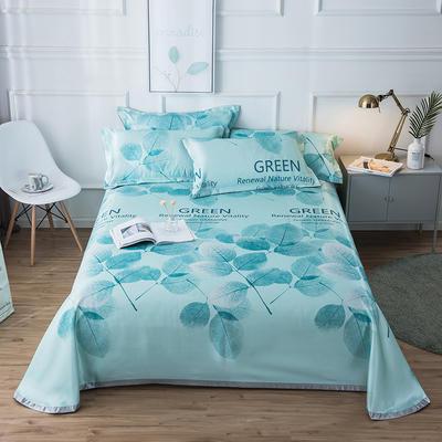 2019新款 床单床笠款冰丝凉席三件套 1.6*2.3m 床单款二件套 绿叶之夏