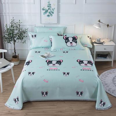 2019新款 床单床笠款冰丝凉席三件套 1.6*2.3m 床单款二件套 时尚狗-绿