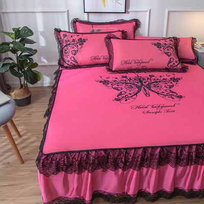 2020新款 蕾丝床裙款冰丝凉席 120*200cm 蝴蝶-玫红