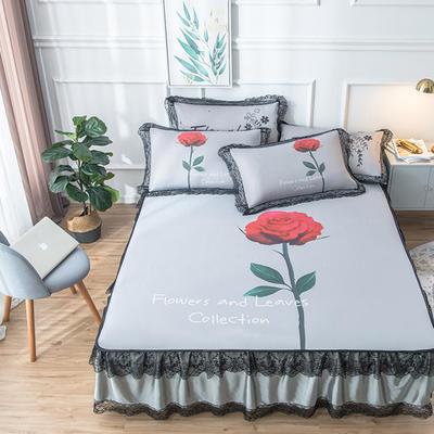 2020新款 蕾丝床裙款冰丝凉席 120*200cm 玫瑰-灰色