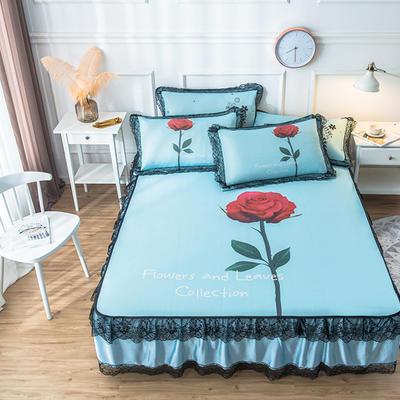 2020新款 蕾丝床裙款冰丝凉席 120*200cm 玫瑰-蓝色