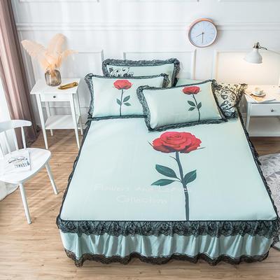 2019新款 蕾丝床裙款冰丝凉席 120*200cm 玫瑰-绿色
