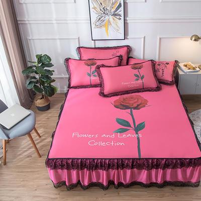 2019新款 蕾丝床裙款冰丝凉席 120*200cm 玫瑰-玫红
