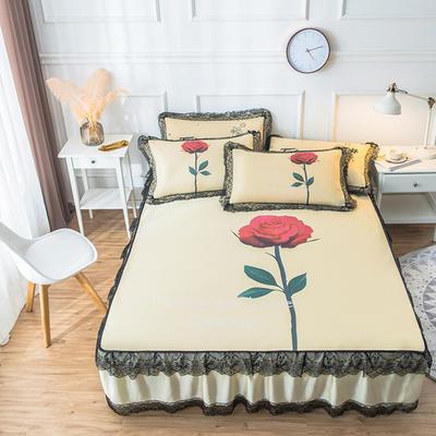 2019新款 蕾丝床裙款冰丝凉席 120*200cm 玫瑰-米色
