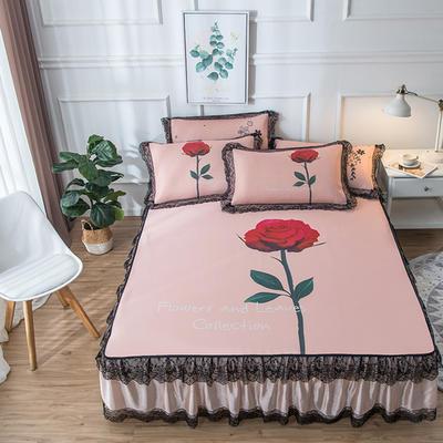 2019新款 蕾丝床裙款冰丝凉席 120*200cm 玫瑰-玉色