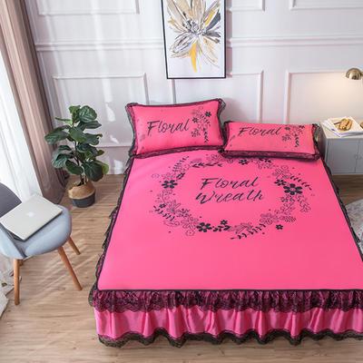 2020新款 蕾丝床裙款冰丝凉席 120*200cm 梦境-玫红