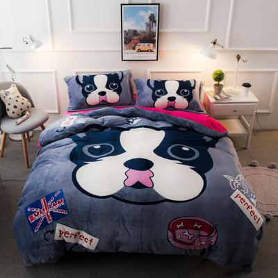 2019大版法莱绒四件套 1.2m床单款三件套 斑点狗