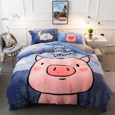 2019大版法莱绒四件套 1.5m-1.8m床单款 社会猪