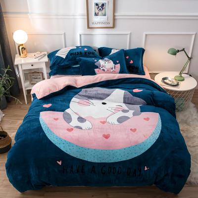 2019大版法莱绒四件套 1.2m床单款三件套 西瓜猫