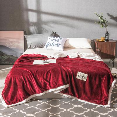 2019新款加厚贝贝绒双面毛毯 1.5*2m 酒红
