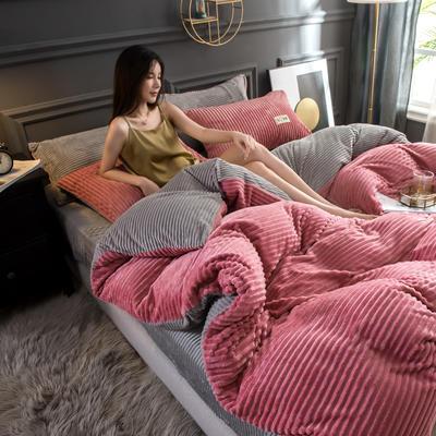 2019新款双面魔法绒四件套 1.2m床单款三件套 红粉佳人