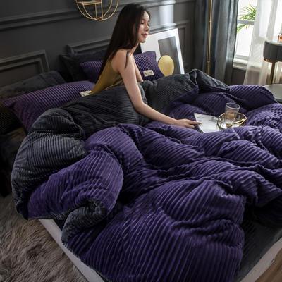 2019新款双面魔法绒四件套 1.5m床单款四件套 葡萄紫