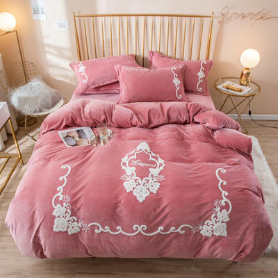 2019新款水晶绒大版毛巾绣四件套 1.2m床单款三件套 安妮-豆沙