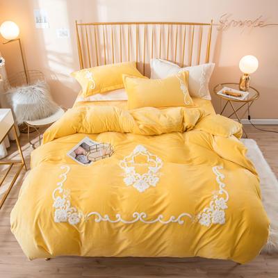 2019新款水晶绒大版毛巾绣四件套 1.5m床单款四件套 安妮-柠檬黄
